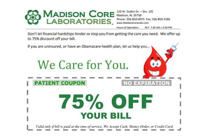 Madison Core Labs - Madison, AL - Patient Coupon