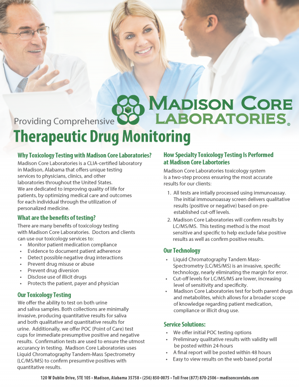 Madison Core Labs - Madison, AL - Therapeutic-Drug-Monitoring